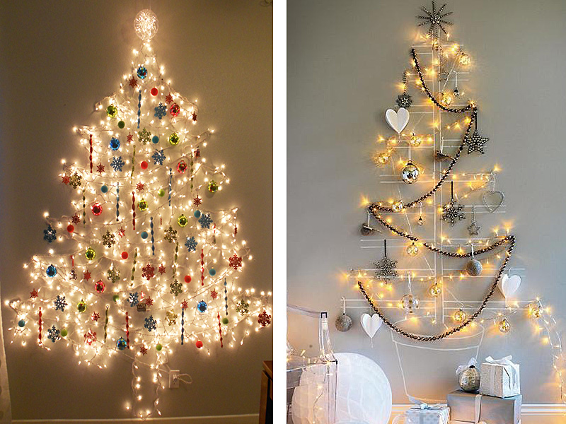 Christmas tree from wall, chalk and string lights Thewowdecor