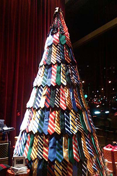 Recycled Tie Christmas Tree Thewowdecor