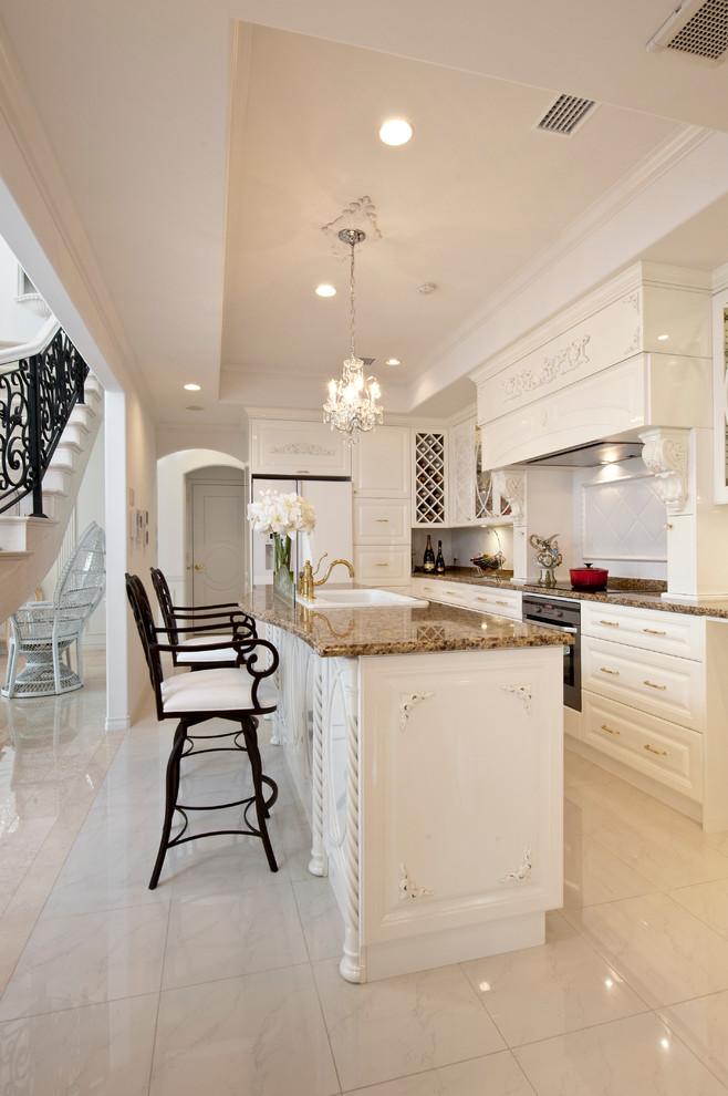 Victorian Galley Kitchen With MArble Floor