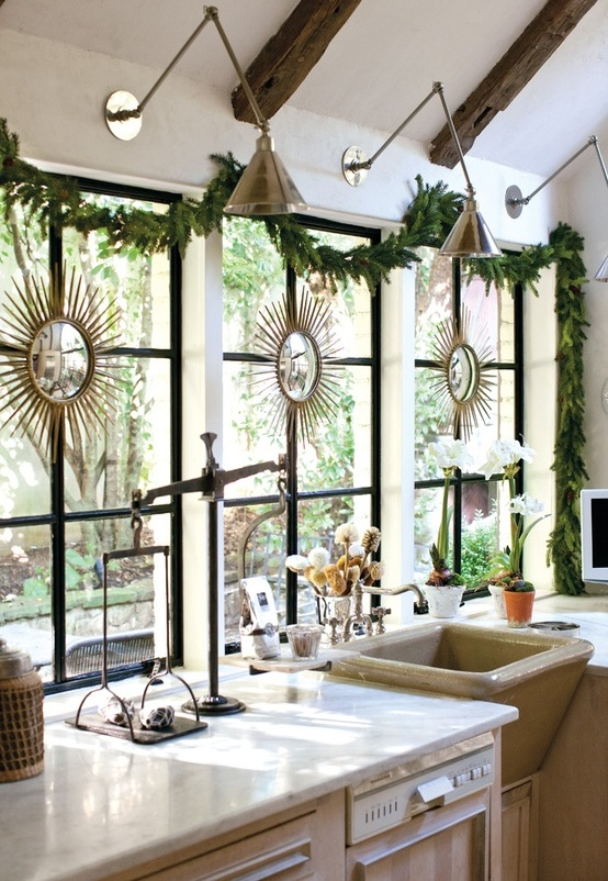 Christmas Garland Over Window for Kitchen
