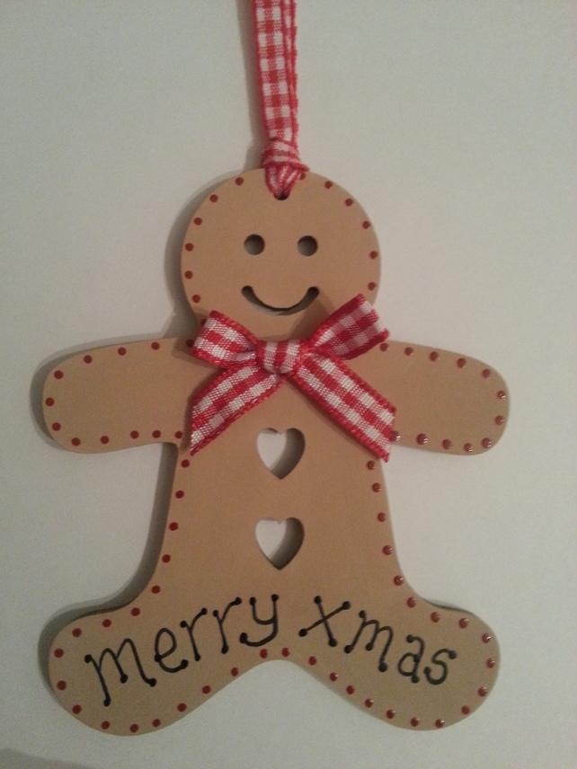 Christmas Wooden Gingerbread Men Decorations