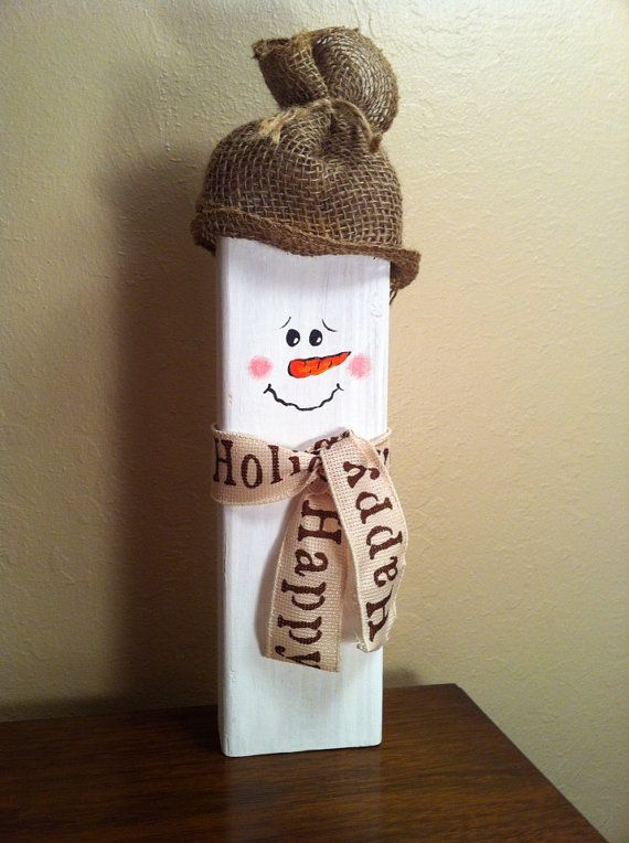 DIY Wooden Christmas Snowman Craft
