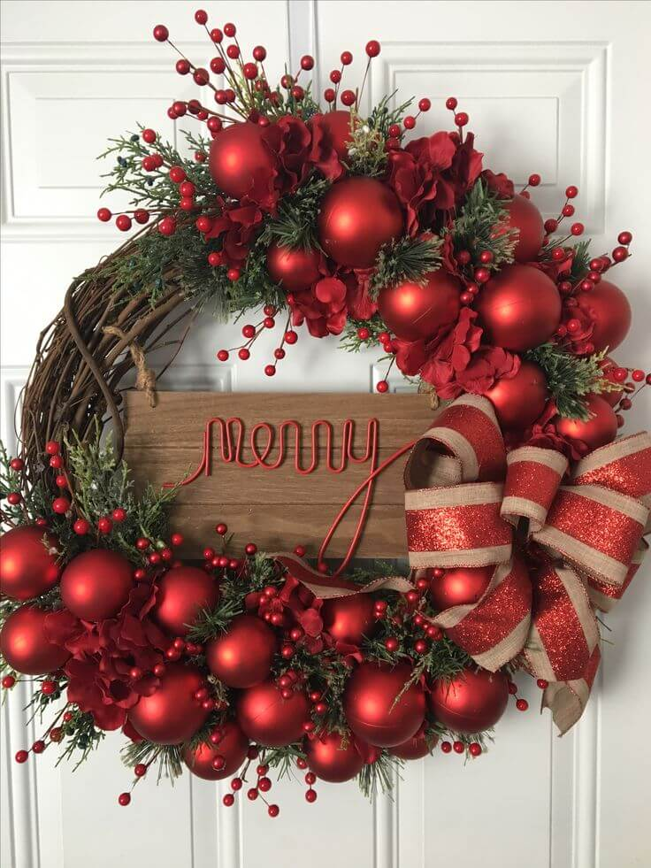 Merry and Bright Door Wreath thewowdecor