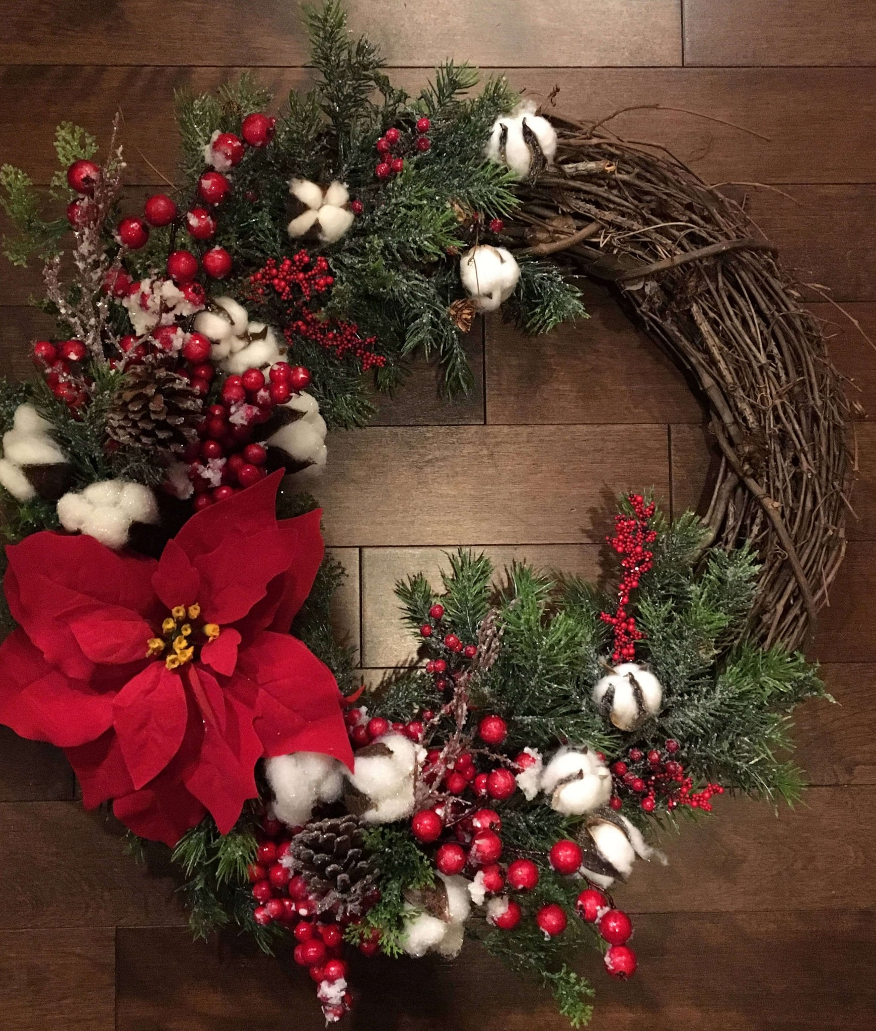 Rustic Grapevine and Raw Cotton Wreath thewowdecor