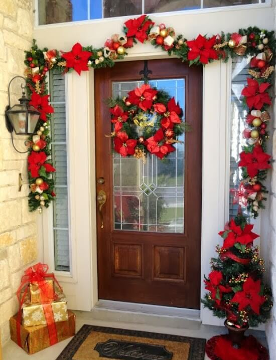 Striking Asymmetrical Poinsettia Door Garland thewowdecor