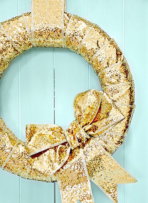 Gold Christmas Wreath DIY
