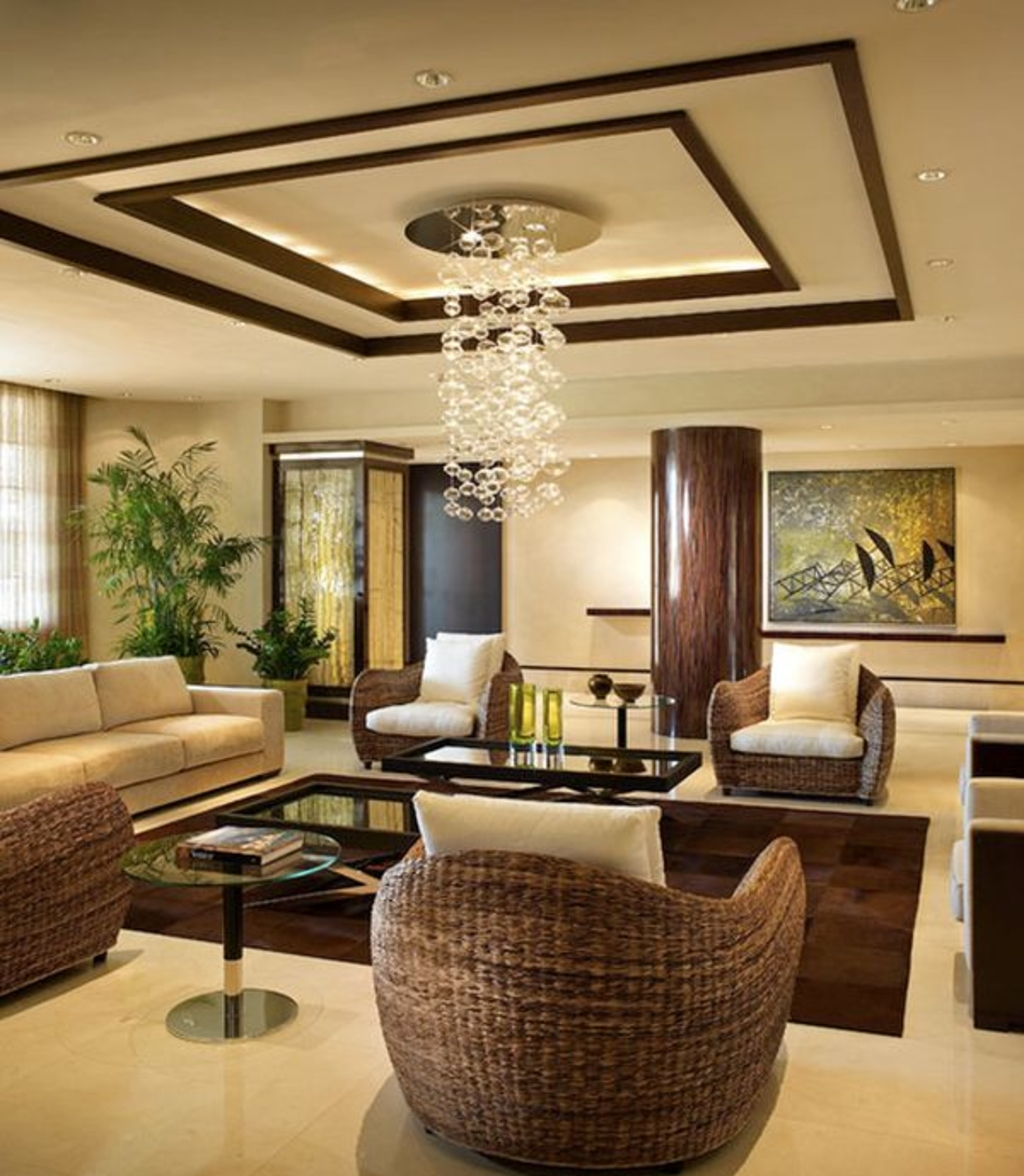 Living Room With Intricate Ceiling Thewowdecor