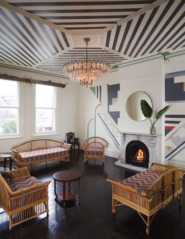 Wooden Black N White Stripes Ceiling Thewowdecor