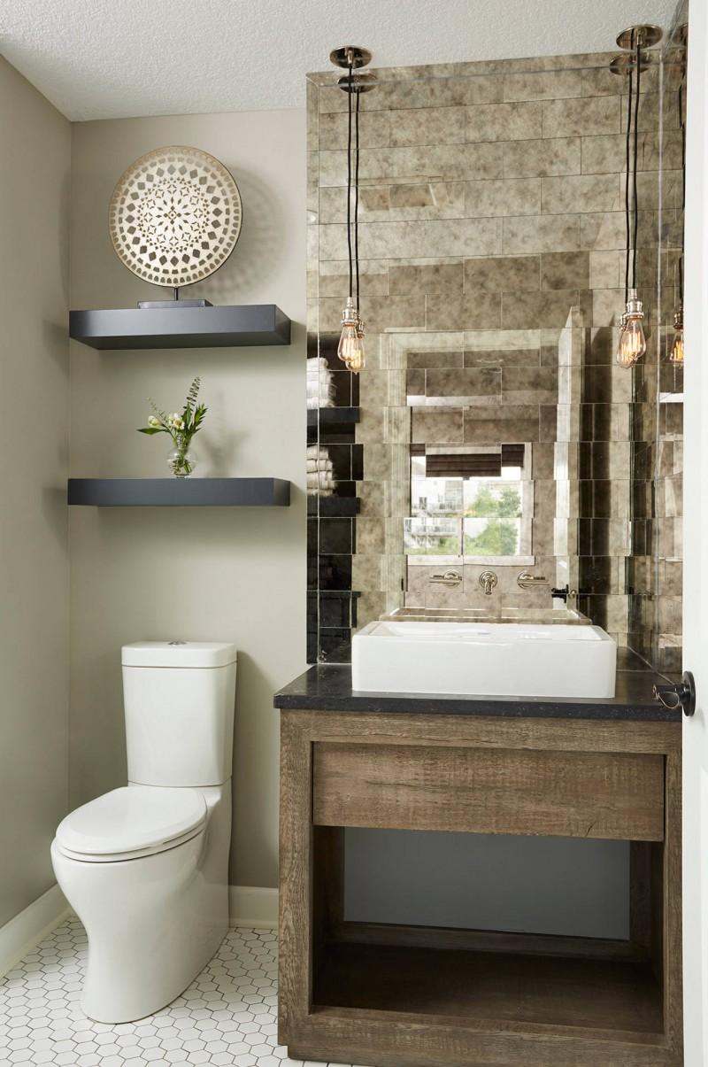 glass-mirror-tiles-vessel-sink-wood-vanity-ceiling-lights-black-floating-shelves-closet