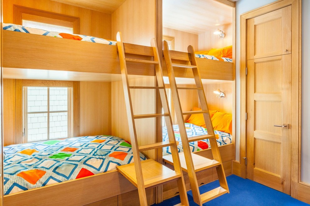 Blue Floor Bedroom With Wooden Bunk Beds Thewowdecor