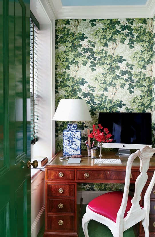 Chic Home Office With Zoffany wallpaper and a Vaughan lamp