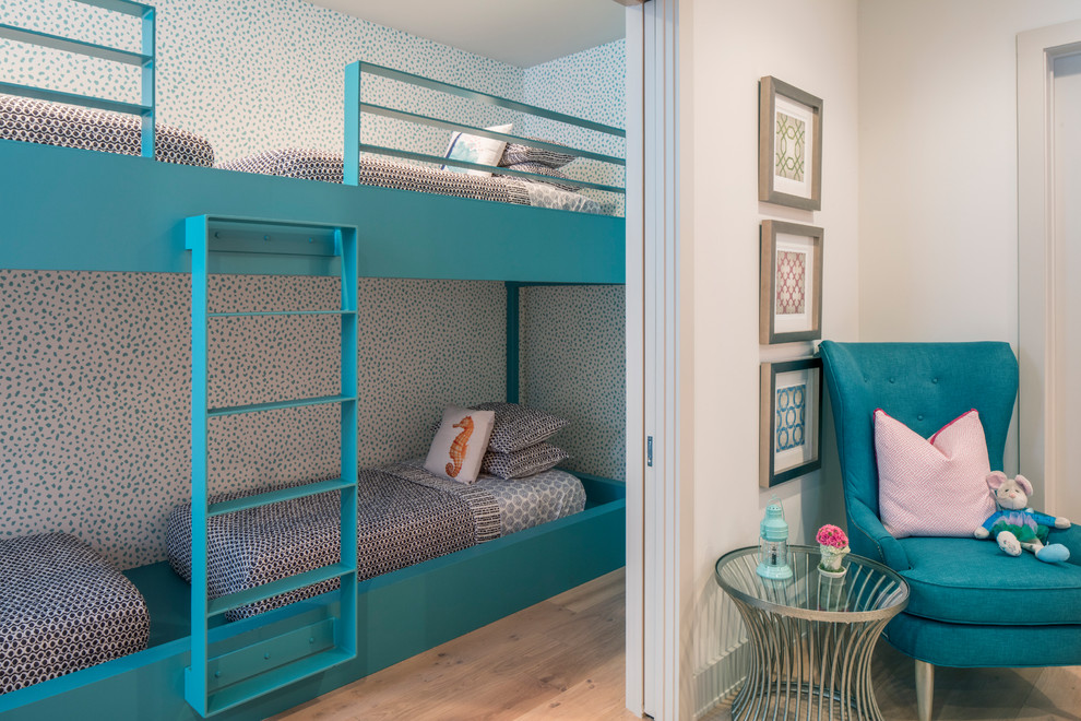 Coastal Style Room With Bunk Beds & Pocket Door thewowdecor
