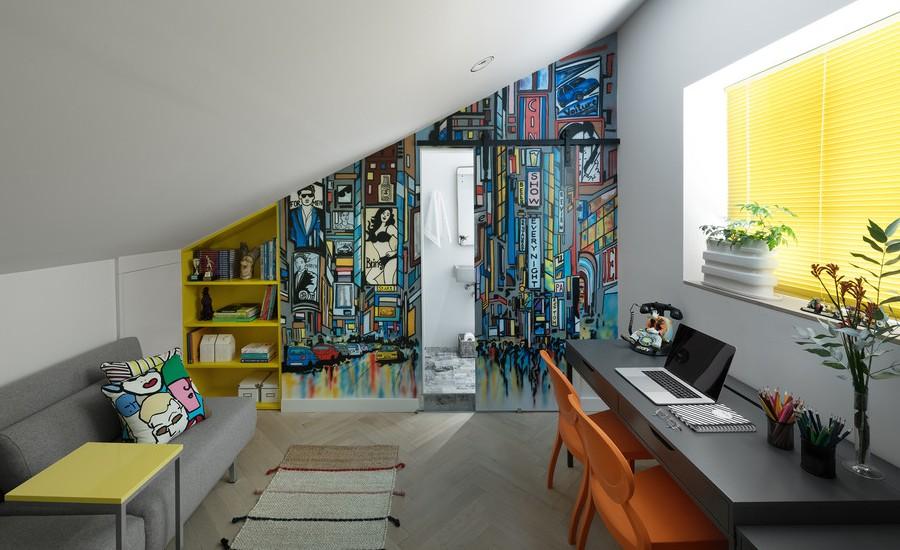 Colorful Modern Attic Home Office Thewowdecor