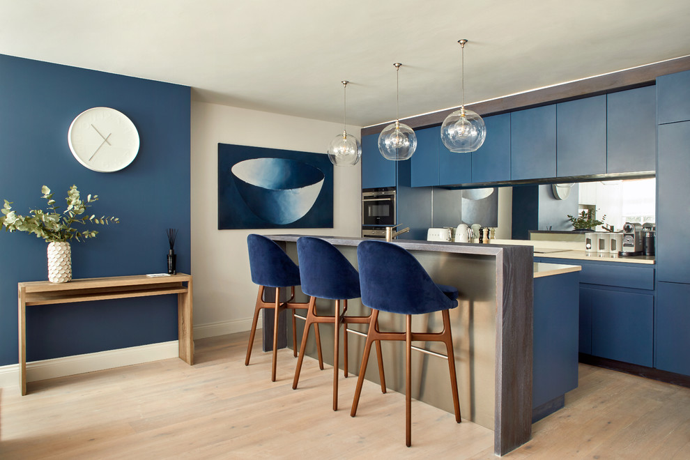 Contemporary Blue Paint Kitchen Cabinets Thewowdecor