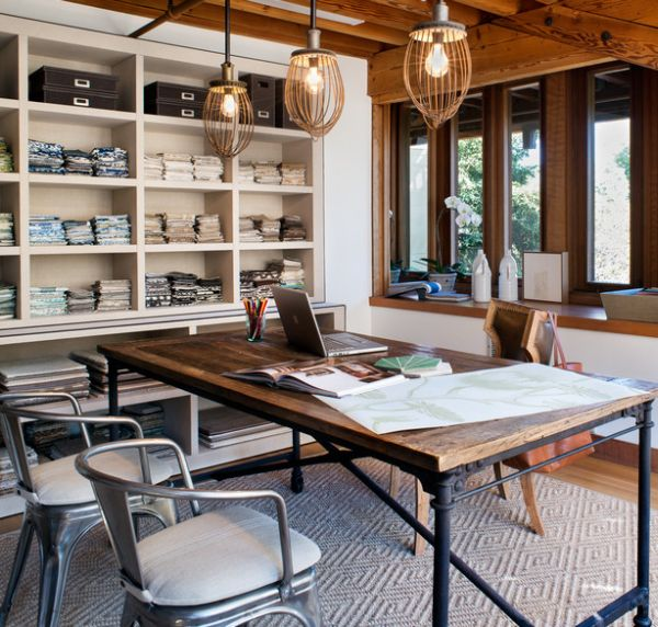 Industrial Home Office Combine With wood & metal Thewowdecor