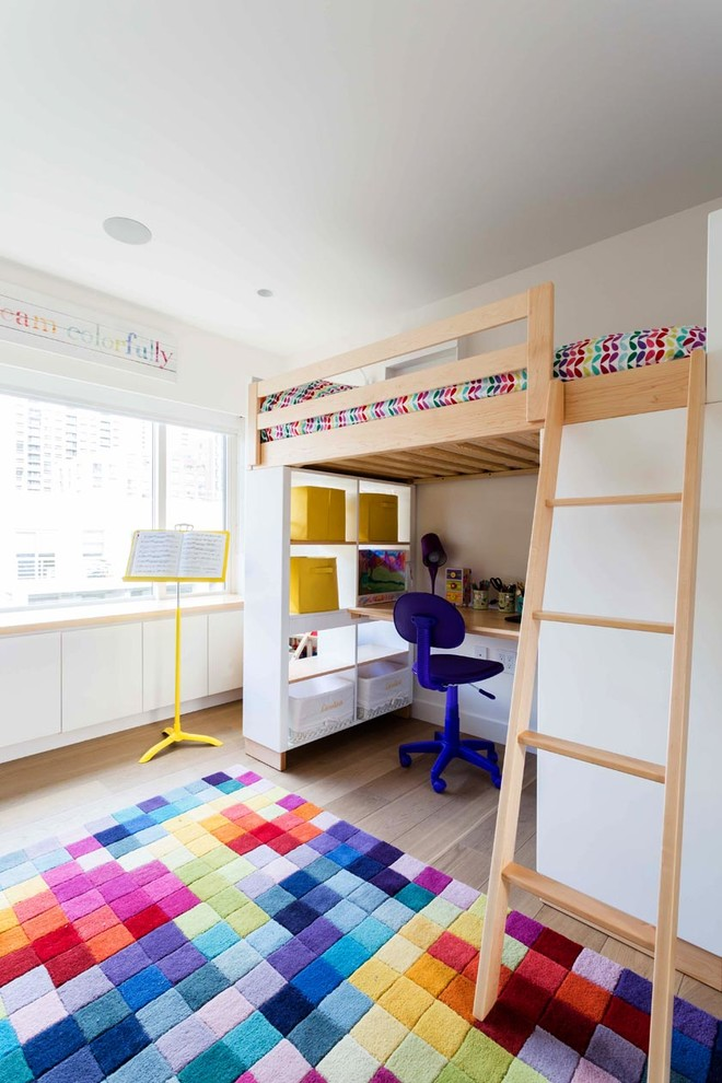 Mid-sized Scandinavian Wood Floor Kids Bedroom Thewowdecor