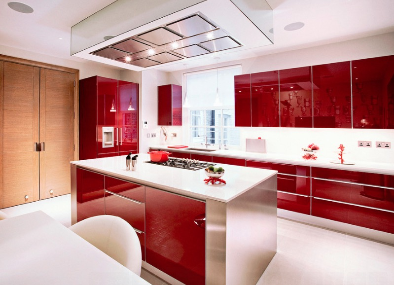 Red Glossy Kitchen Cabinets Thewowdecor