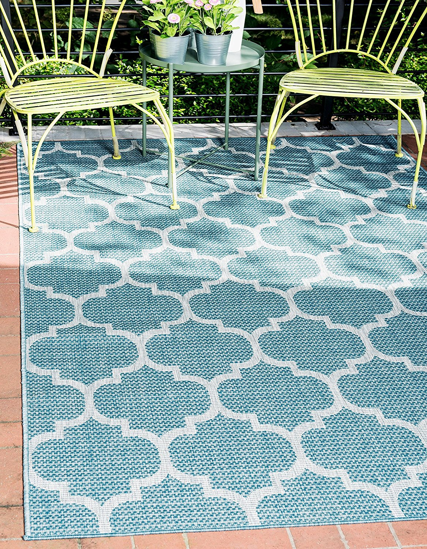 Traditional Geometric Aquamarine Home Decor Rug Thewowdecor
