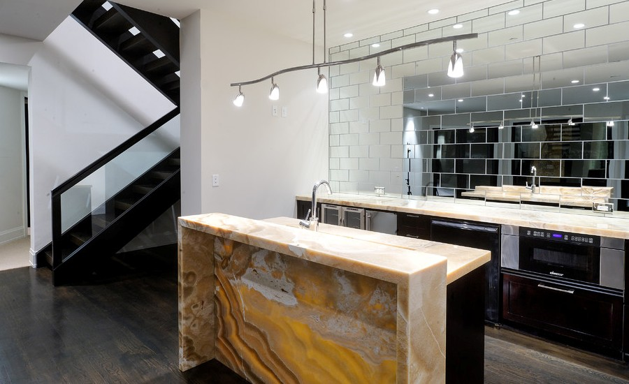 Contemporary kitchen With Onyx Countertops