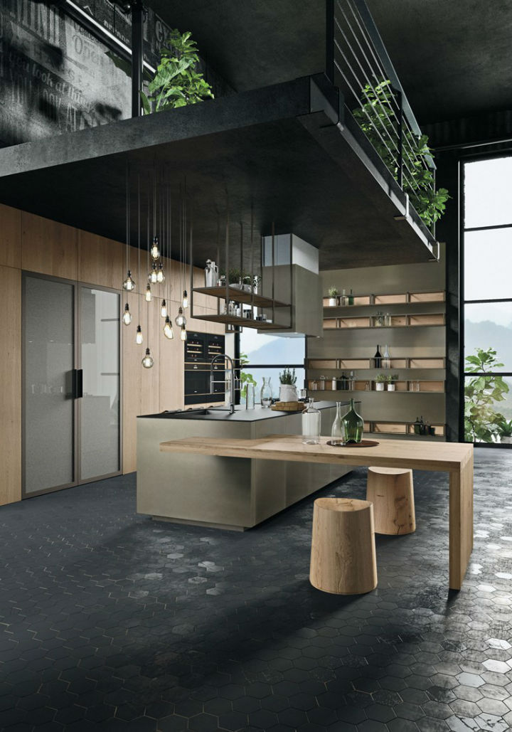 Industrial Kitchen With Island Without Handles
