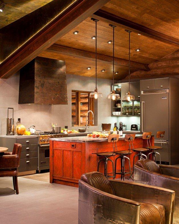 Red-island-Industrial-Kitchen-Interior