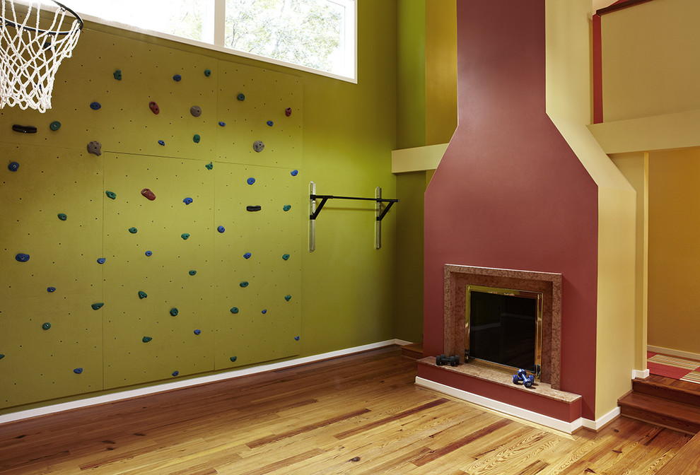 Transitional Home Gym Fake Fireplace Design