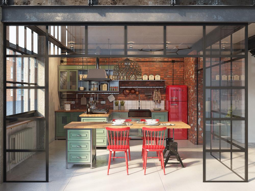 industrial-kitchen-raw-brick-wall