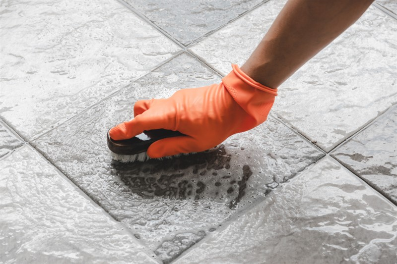 Clean the grout perfectly