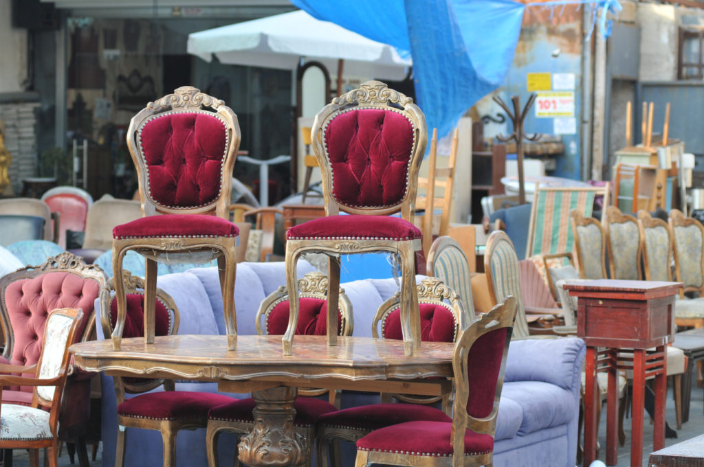 Antique Chairs on a table at flea market