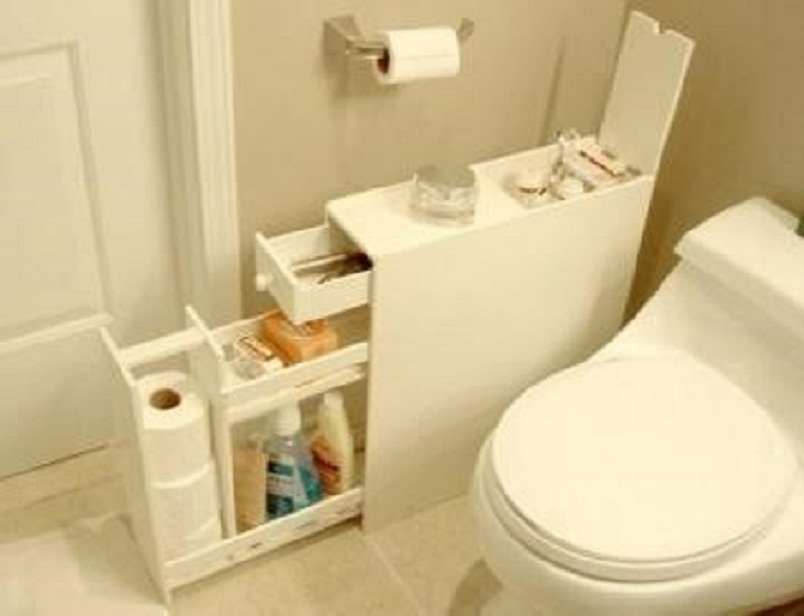 Put narrow cabinet in bathroom