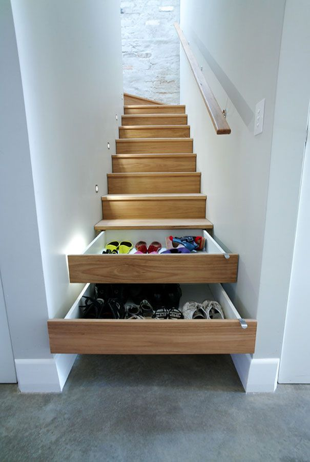 Store Shoes in Stair Drawers