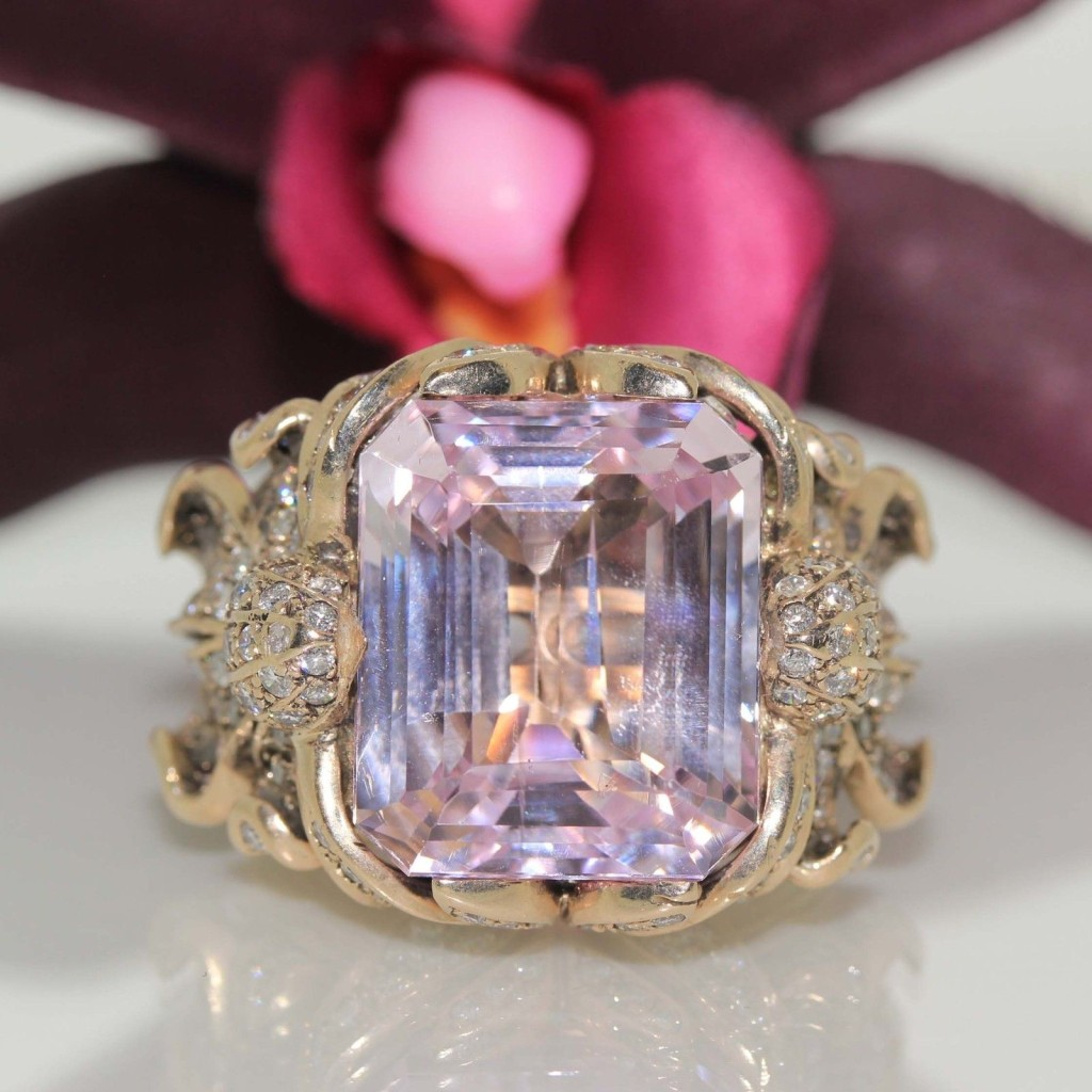 Authentic designer Zolotas 18k gold Pink Kunzite & VS Diamond heavy ring 33.2 gram