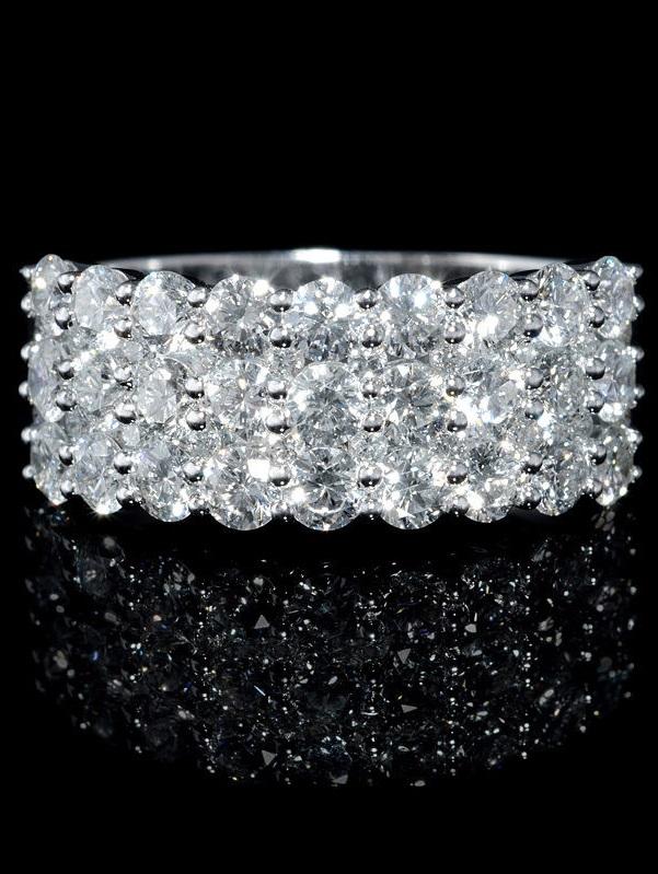 Diamond 18k White Gold Three Row Ring