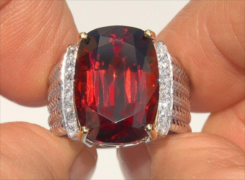 GIA 20.87 ct Natural FLAWLESS Spessartine Garnet Diamond 14k Gold Estate Ring