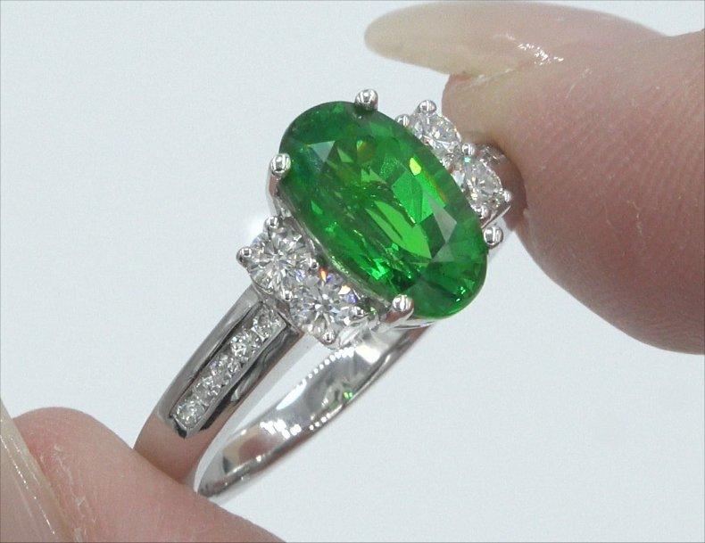 GIA 3.23 ct VVS Natural Tsavorite Garnet Diamond 14k White Gold Estate Ring