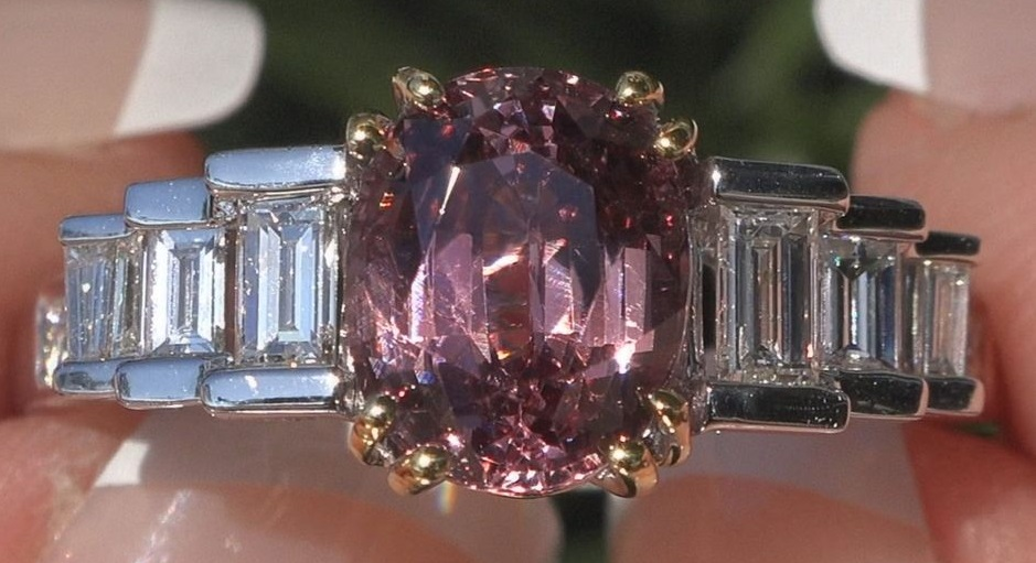 GIA Certified UNHEATED Natural Pink Spinel Diamond 14k Gold Ring VS 3.66 CWT