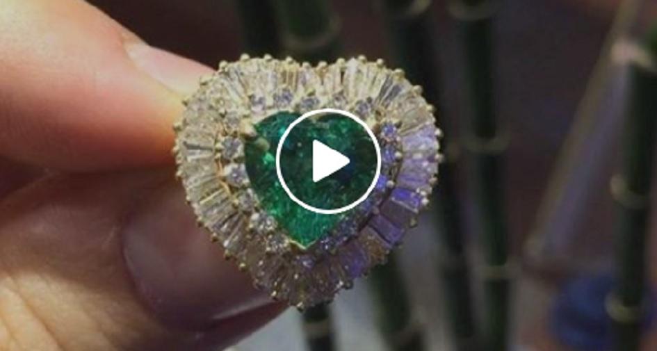 Heart Cut Emerald Ring
