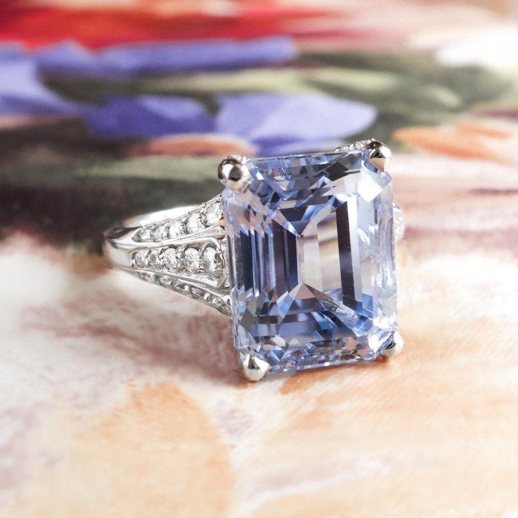 Emerald Cut GIA Sapphire Diamond Platinum Engagement Ring