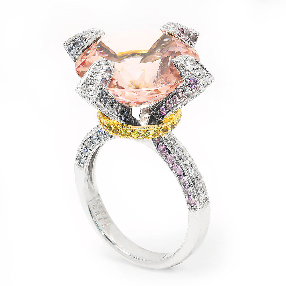 Round Morganite Ring with Diamonds & Sapphires in 18Kt Two Tone Gold 15.04ctw