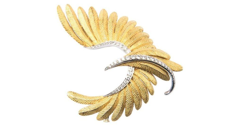 Bulgari Gold, Platinum and Diamond Bird Brooch $24,157.45