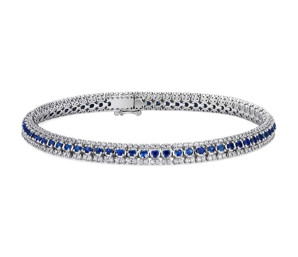 Three-Row Sapphire and Diamond Bracelet in 14k White Gold