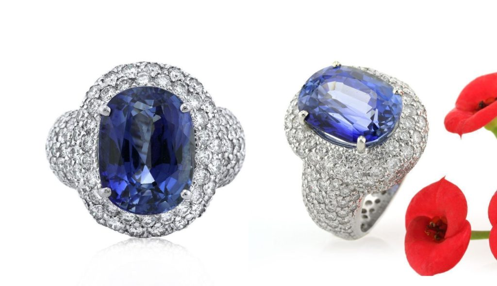 Mark Broumand 12.94ct Oval Cut Ceylon Sapphire and Diamond Right-Hand Ring