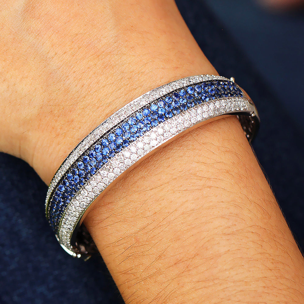 Sapphire Cluster Bangle Bracelet with Diamonds in 14kt White Gold 9.00ctw