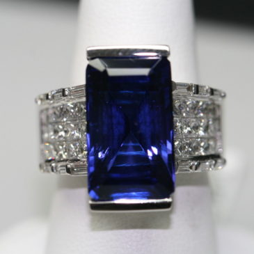 12.49 Ct Emerald Cut Tanzanite and Diamond Ring 18K White Gold