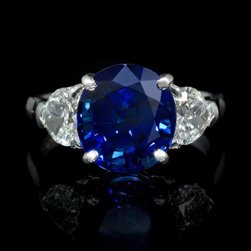 Diamond and Blue Sapphire Platinum Ring