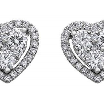 Olivia Paris 14K White Gold 3/4 Carat (ctw) Diamond Halo Heart Cluster Stud Earrings (H-I, SI2-I1)