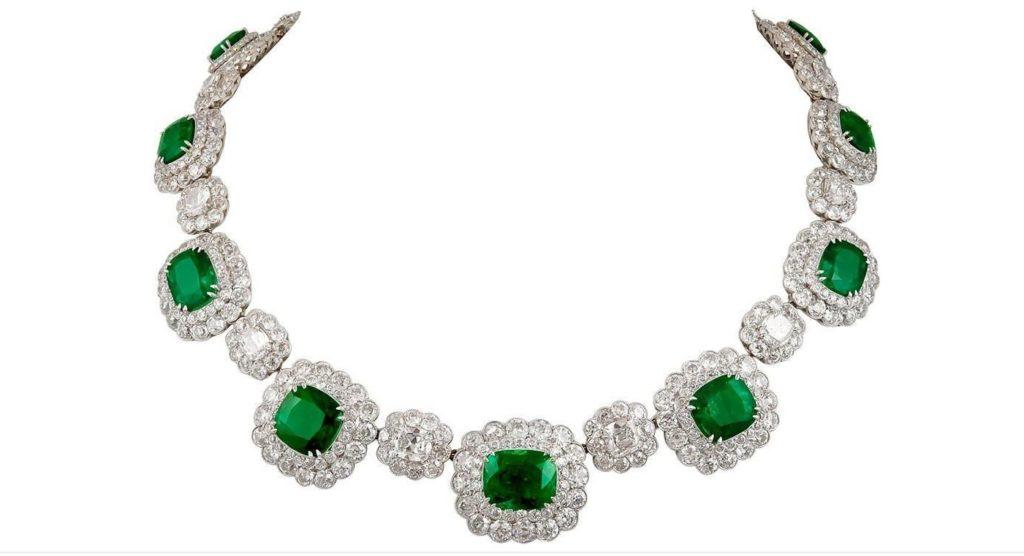 Platinum Diamond and Emerald Necklace