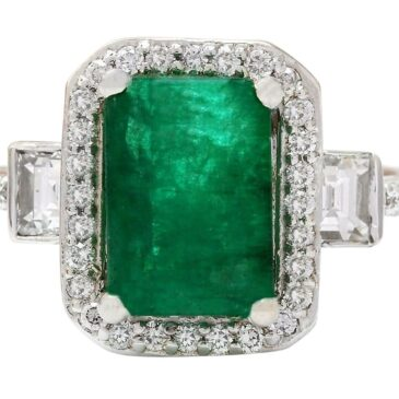 A Gorgeous 3.60 Carat Natural Emerald and Diamond 18K White Gold Engagement Ring