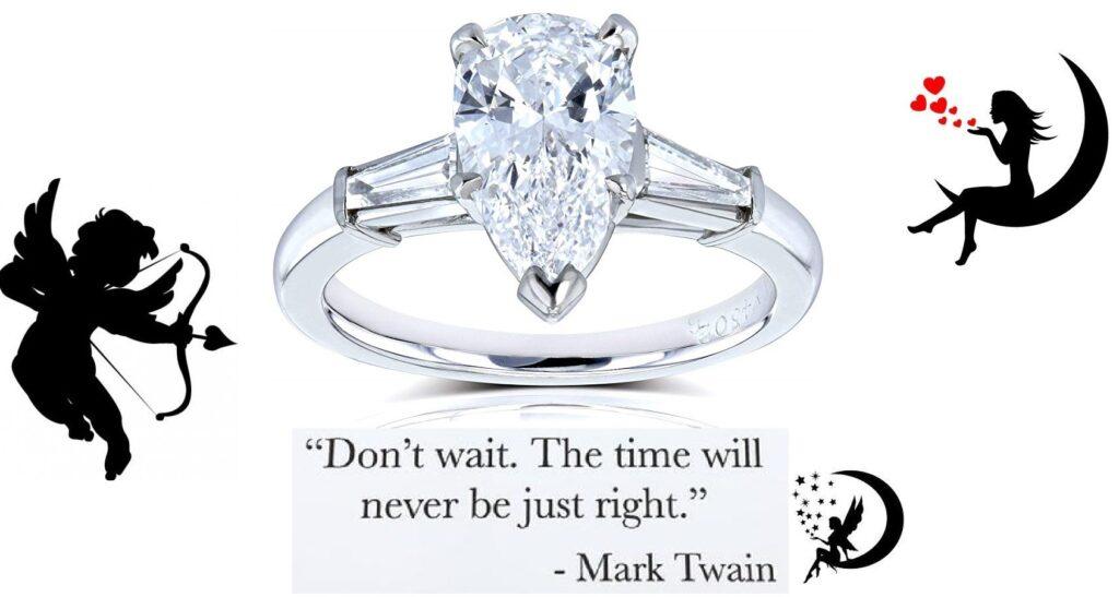 Kobelli Van Cleef Pear Brilliant Diamond Three Stone Engagement Ring 2 1/10 CTW in Platinum (GIA Certified)