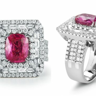 A Gorgeous 5.53 Ct Unheated Burmese Pink Sapphire and Diamond 18K White Gold Ring